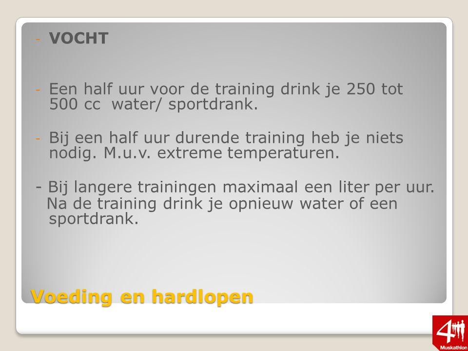 Voeding en hardlopen - VOCHT - Een half uur voor de training drink je 250 tot 500 cc water/ sportdrank.