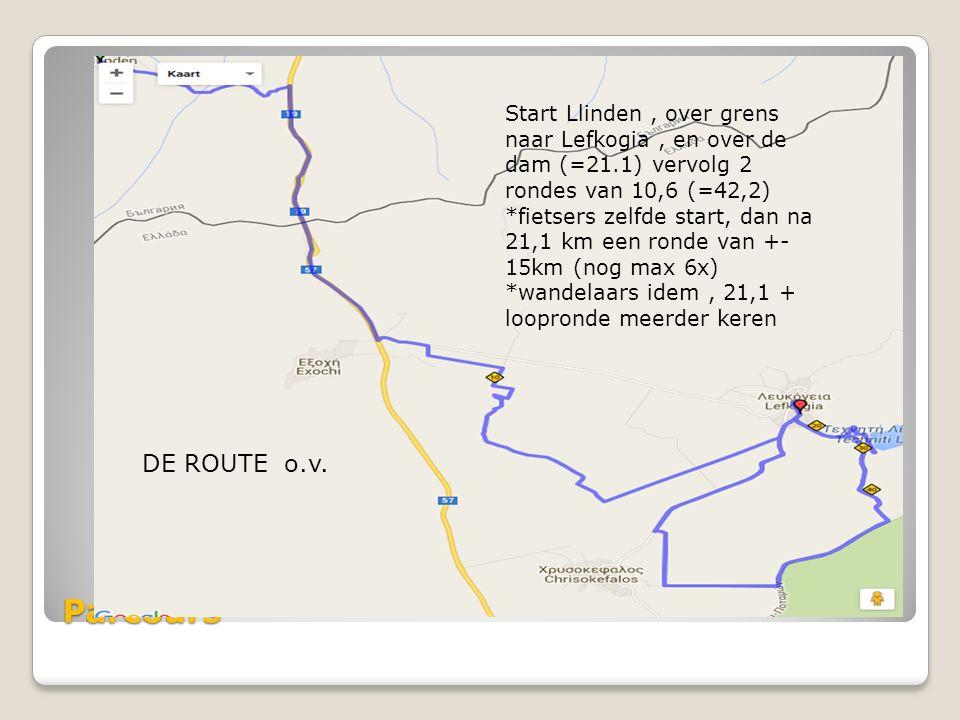 Parcours Start Llinden, over grens naar Lefkogia, en over de dam (=21.1) vervolg 2 rondes van 10,6 (=42,2) *fietsers zelfde start, dan na 21,1 km een ronde van +- 15km (nog max 6x) *wandelaars idem, 21,1 + loopronde meerder keren DE ROUTE o.v.