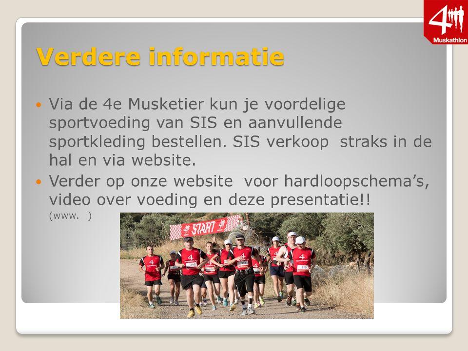 Verdere informatie Via de 4e Musketier kun je voordelige sportvoeding van SIS en aanvullende sportkleding bestellen.