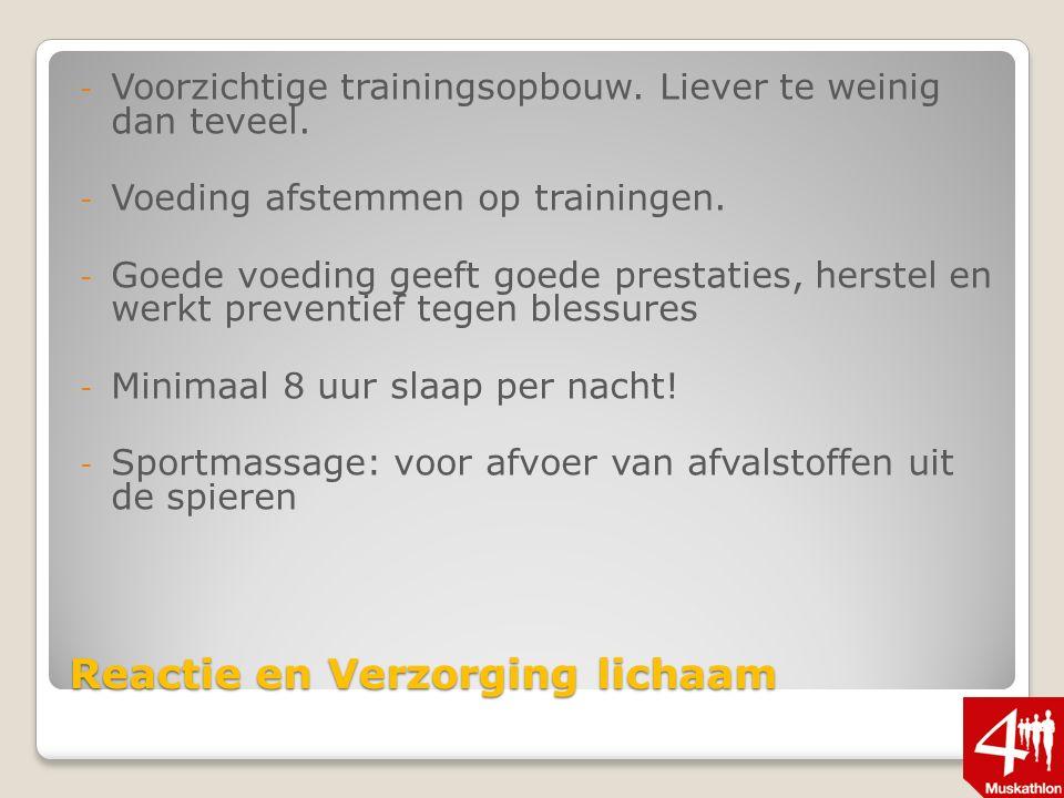 Reactie en Verzorging lichaam - Voorzichtige trainingsopbouw.