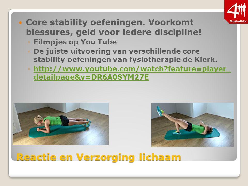 Reactie en Verzorging lichaam Core stability oefeningen.