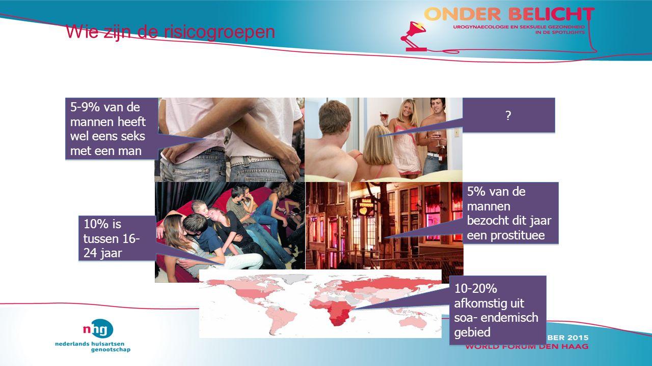 Wie zijn de risicogroepen 5-9% van de mannen heeft wel eens seks met een man 10% is tussen 16- 24 jaar 5% van de mannen bezocht dit jaar een prostituee .