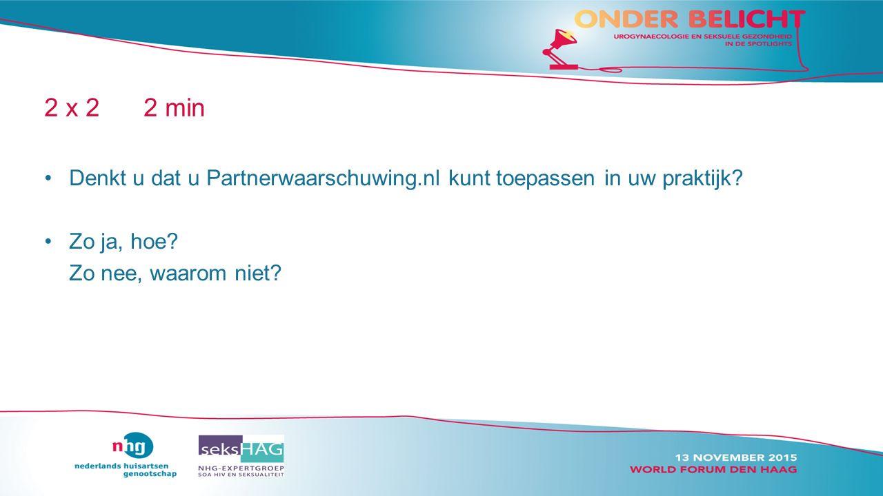 2 x 22 min Denkt u dat u Partnerwaarschuwing.nl kunt toepassen in uw praktijk.