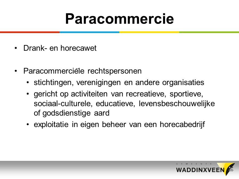 Paracommercie Drank- en horecawet Paracommercie ̈ le rechtspersonen stichtingen, verenigingen en andere organisaties gericht op activiteiten van recreatieve, sportieve, sociaal-culturele, educatieve, levensbeschouwelijke of godsdienstige aard exploitatie in eigen beheer van een horecabedrijf