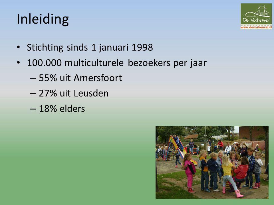 Inleiding Stichting sinds 1 januari 1998 100.000 multiculturele bezoekers per jaar – 55% uit Amersfoort – 27% uit Leusden – 18% elders