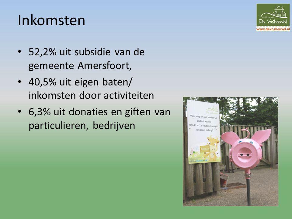 Inkomsten 52,2% uit subsidie van de gemeente Amersfoort, 40,5% uit eigen baten/ inkomsten door activiteiten 6,3% uit donaties en giften van particulieren, bedrijven