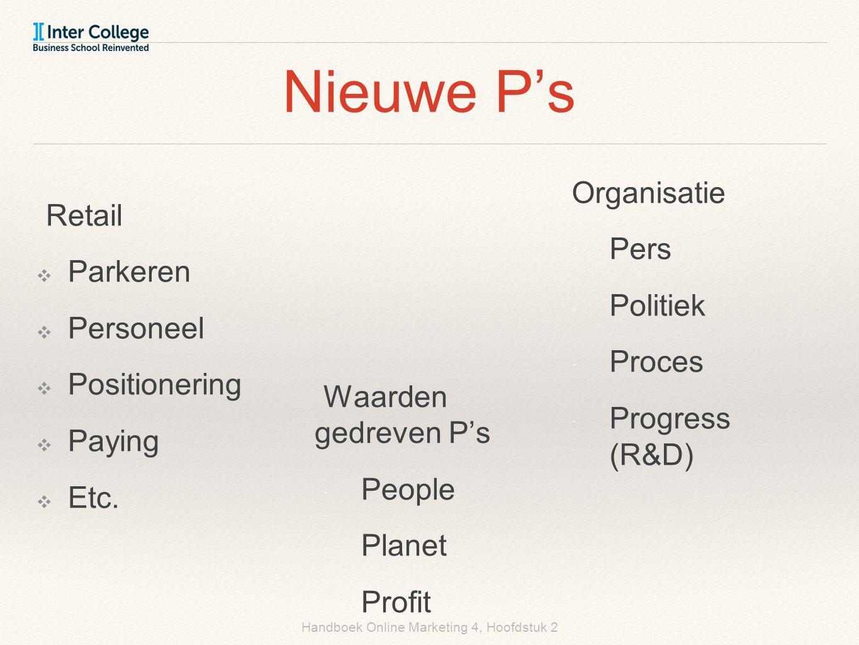 Handboek Online Marketing 4, Hoofdstuk 2 Nieuwe P's Retail ❖ Parkeren ❖ Personeel ❖ Positionering ❖ Paying ❖ Etc. Organisatie  Pers  Politiek  Proc