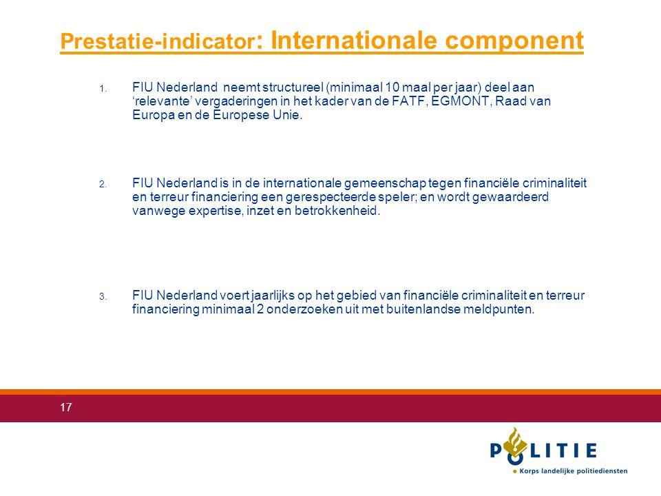 17 Prestatie-indicator : Internationale component 1.