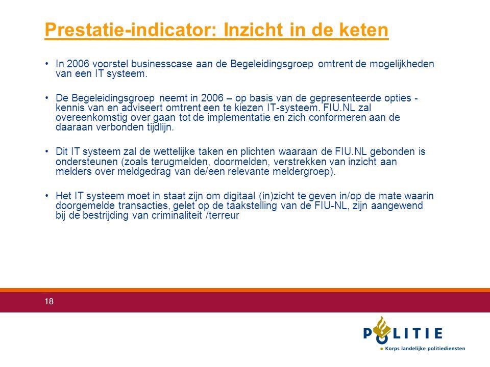 18 Prestatie-indicator: Inzicht in de keten In 2006 voorstel businesscase aan de Begeleidingsgroep omtrent de mogelijkheden van een IT systeem.