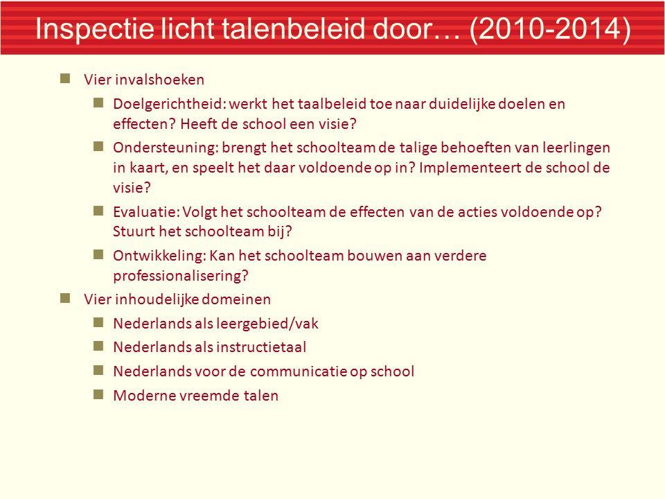 Inspectie licht talenbeleid door… (2010-2014) Vier invalshoeken Doelgerichtheid: werkt het taalbeleid toe naar duidelijke doelen en effecten? Heeft de
