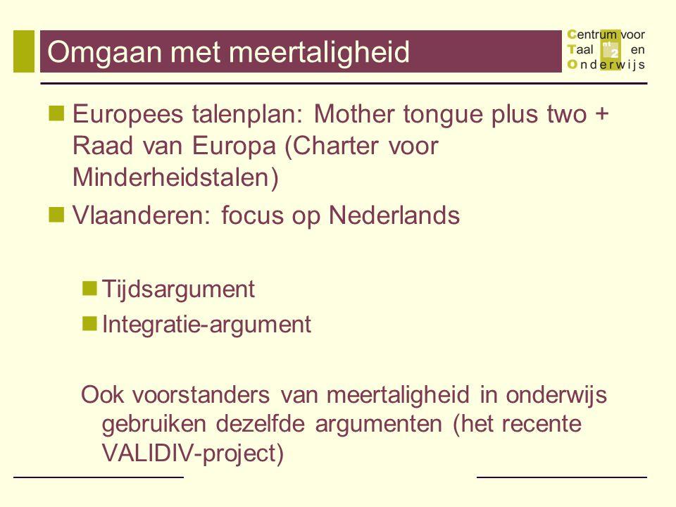 Omgaan met meertaligheid Europees talenplan: Mother tongue plus two + Raad van Europa (Charter voor Minderheidstalen) Vlaanderen: focus op Nederlands