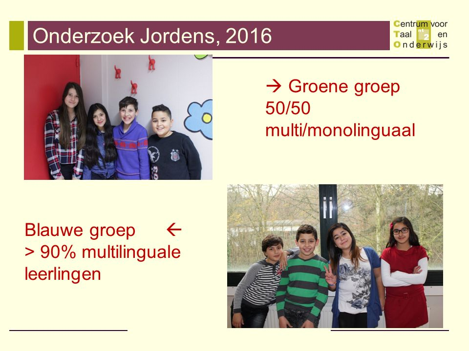 Onderzoek Jordens, 2016 Blauwe groep  > 90% multilinguale leerlingen  Groene groep 50/50 multi/monolinguaal