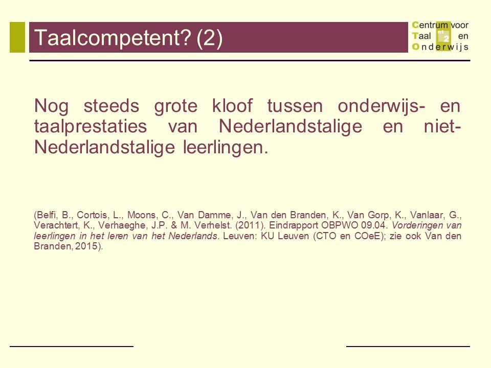 Vroeg- en voorschoolse taalstimulering Doctoraatsonderzoek Machteld Verhelst (2002) naar vroege-tweedetaalverwerving van het Nederlands door anderstalige peuters (2.5 à 3 jaar) Uitgevoerd in een Brusselse Nederlandstalige school