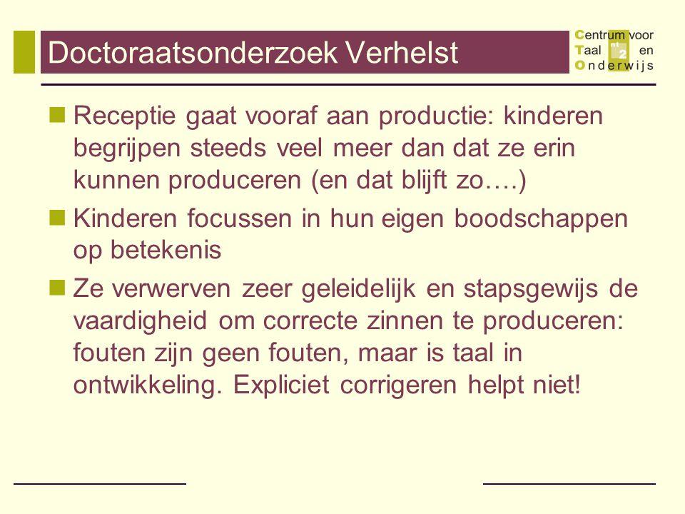 Eerste kleuterklas in Brussel Eerste 10 weken van het schooljaar ( ) = frequentie in taalaanbod Snelst verworven woorden Boekentas (997) Trein (297) Kus (691) Sjaal (182) Plasticine (392) Kind (1782) Hoofd (501) Plaats (193) Bak (389) Knippen (94) Kauwgum (14)