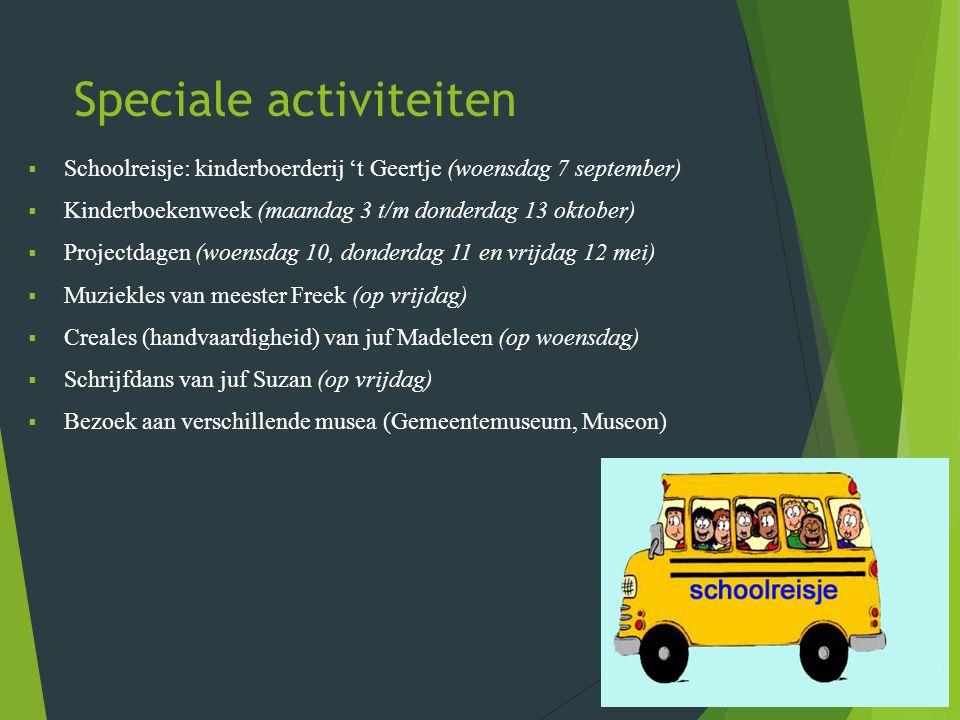 Speciale activiteiten  Schoolreisje: kinderboerderij 't Geertje (woensdag 7 september)  Kinderboekenweek (maandag 3 t/m donderdag 13 oktober)  Projectdagen (woensdag 10, donderdag 11 en vrijdag 12 mei)  Muziekles van meester Freek (op vrijdag)  Creales (handvaardigheid) van juf Madeleen (op woensdag)  Schrijfdans van juf Suzan (op vrijdag)  Bezoek aan verschillende musea (Gemeentemuseum, Museon)
