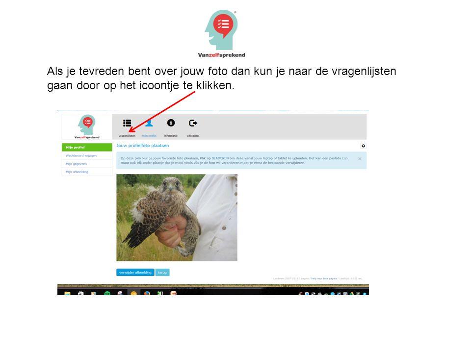 Als je tevreden bent over jouw foto dan kun je naar de vragenlijsten gaan door op het icoontje te klikken.
