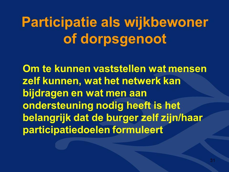 Participatie als wijkbewoner of dorpsgenoot Om te kunnen vaststellen wat mensen zelf kunnen, wat het netwerk kan bijdragen en wat men aan ondersteuning nodig heeft is het belangrijk dat de burger zelf zijn/haar participatiedoelen formuleert 31