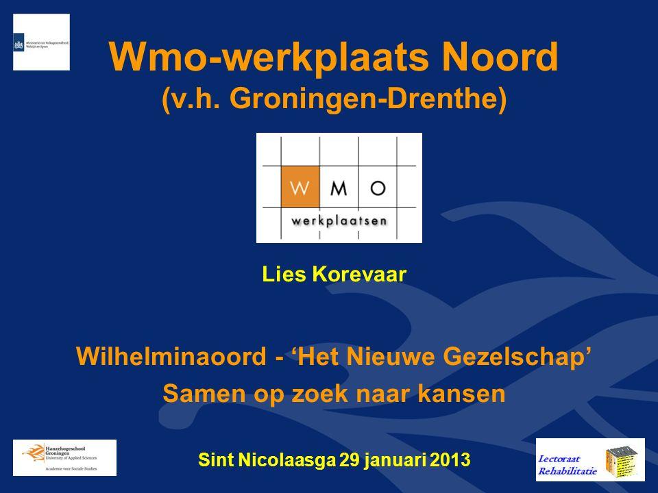 Wmo-werkplaats Groningen-Drenthe Er zijn zeven Wmo-werkplaatsen in Nederland opgericht, die financieel worden ondersteund door het Ministerie van VWS www.wmowerkplaatsen.nl