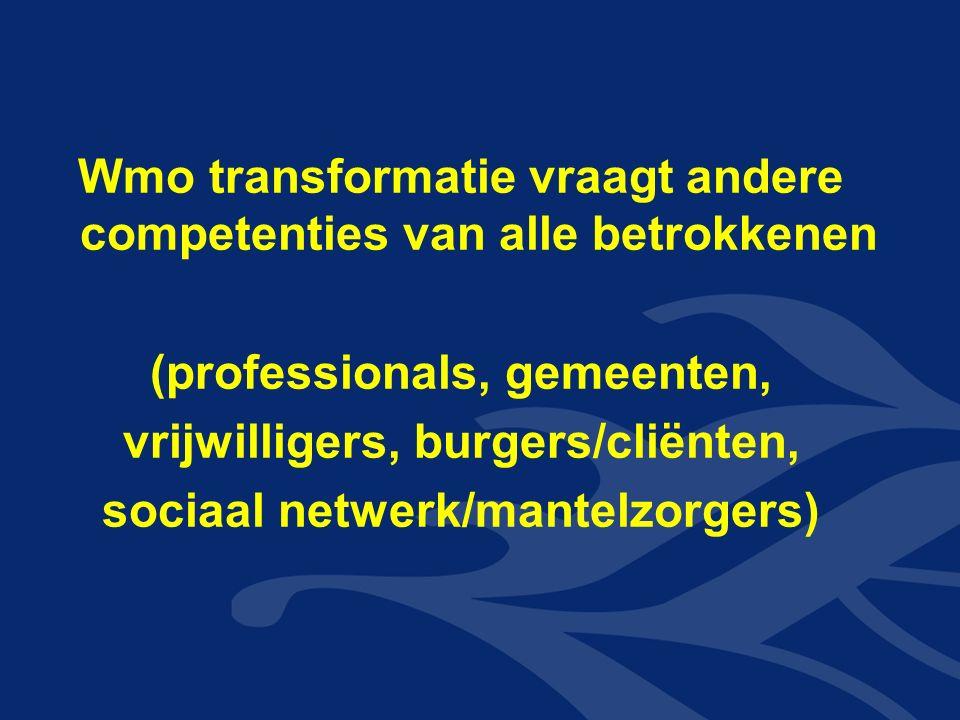 Wmo transformatie vraagt andere competenties van alle betrokkenen (professionals, gemeenten, vrijwilligers, burgers/cliënten, sociaal netwerk/mantelzorgers)