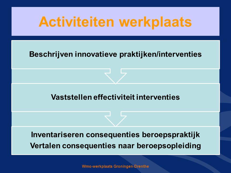 Wmo-werkplaats Groningen-Drenthe Activiteiten werkplaats Inventariseren consequenties beroepspraktijk Vertalen consequenties naar beroepsopleiding Vaststellen effectiviteit interventies Beschrijven innovatieve praktijken/interventies