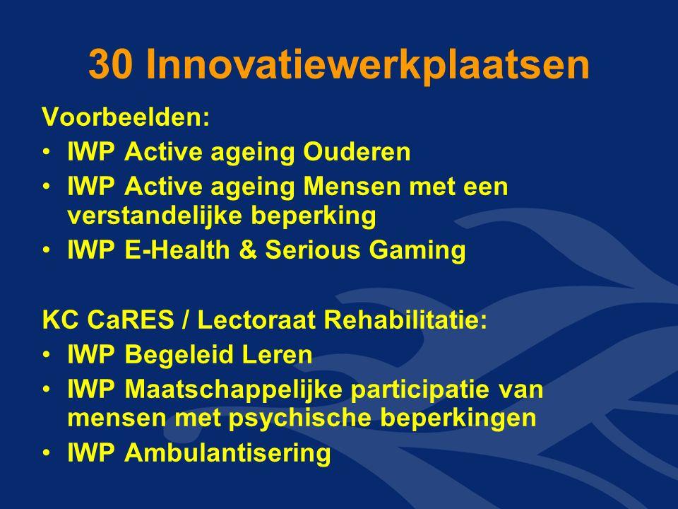 30 Innovatiewerkplaatsen Voorbeelden: IWP Active ageing Ouderen IWP Active ageing Mensen met een verstandelijke beperking IWP E-Health & Serious Gaming KC CaRES / Lectoraat Rehabilitatie: IWP Begeleid Leren IWP Maatschappelijke participatie van mensen met psychische beperkingen IWP Ambulantisering