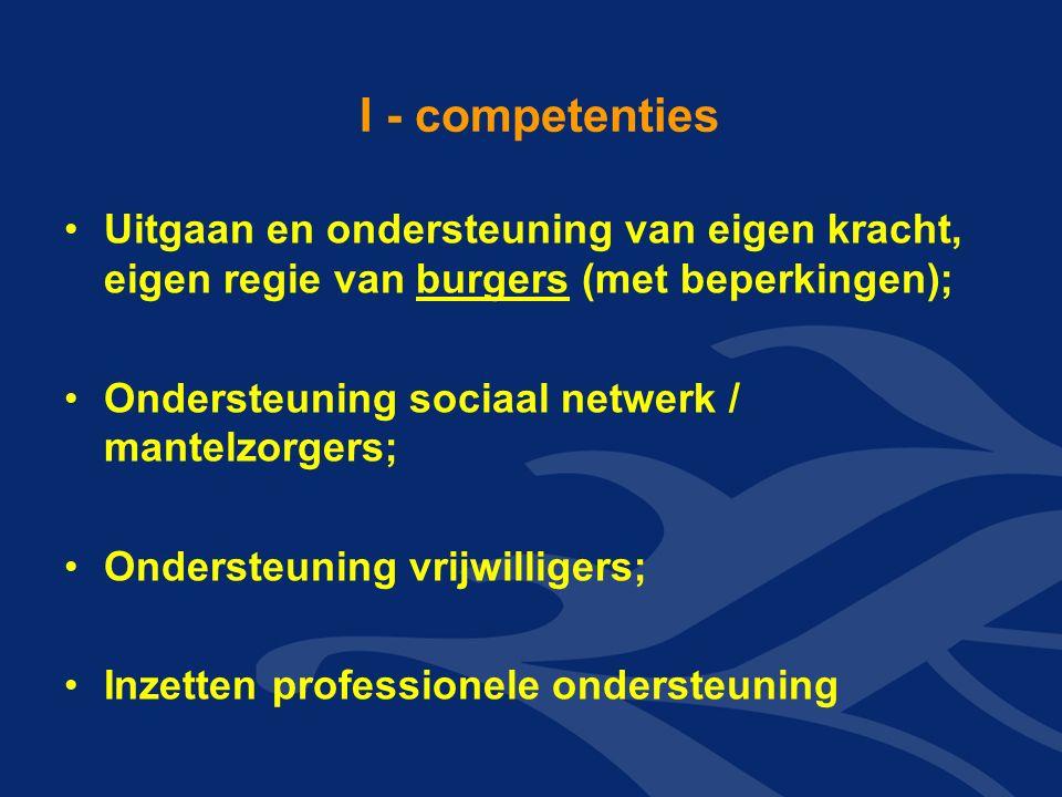 I - competenties Uitgaan en ondersteuning van eigen kracht, eigen regie van burgers (met beperkingen); Ondersteuning sociaal netwerk / mantelzorgers; Ondersteuning vrijwilligers; Inzetten professionele ondersteuning