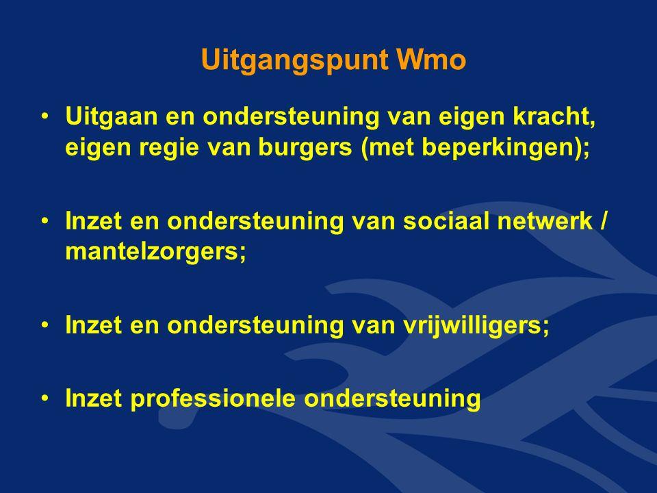 Uitgangspunt Wmo Uitgaan en ondersteuning van eigen kracht, eigen regie van burgers (met beperkingen); Inzet en ondersteuning van sociaal netwerk / mantelzorgers; Inzet en ondersteuning van vrijwilligers; Inzet professionele ondersteuning