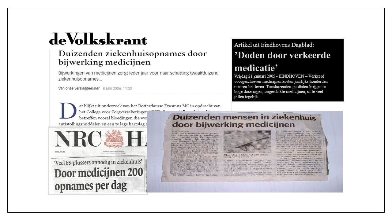 Artikel uit Eindhovens Dagblad: 'Doden door verkeerde medicatie' Vrijdag 21 januari 2005 - EINDHOVEN – Verkeerd voorgeschreven medicijnen kosten jaarlijks honderden mensen het leven.