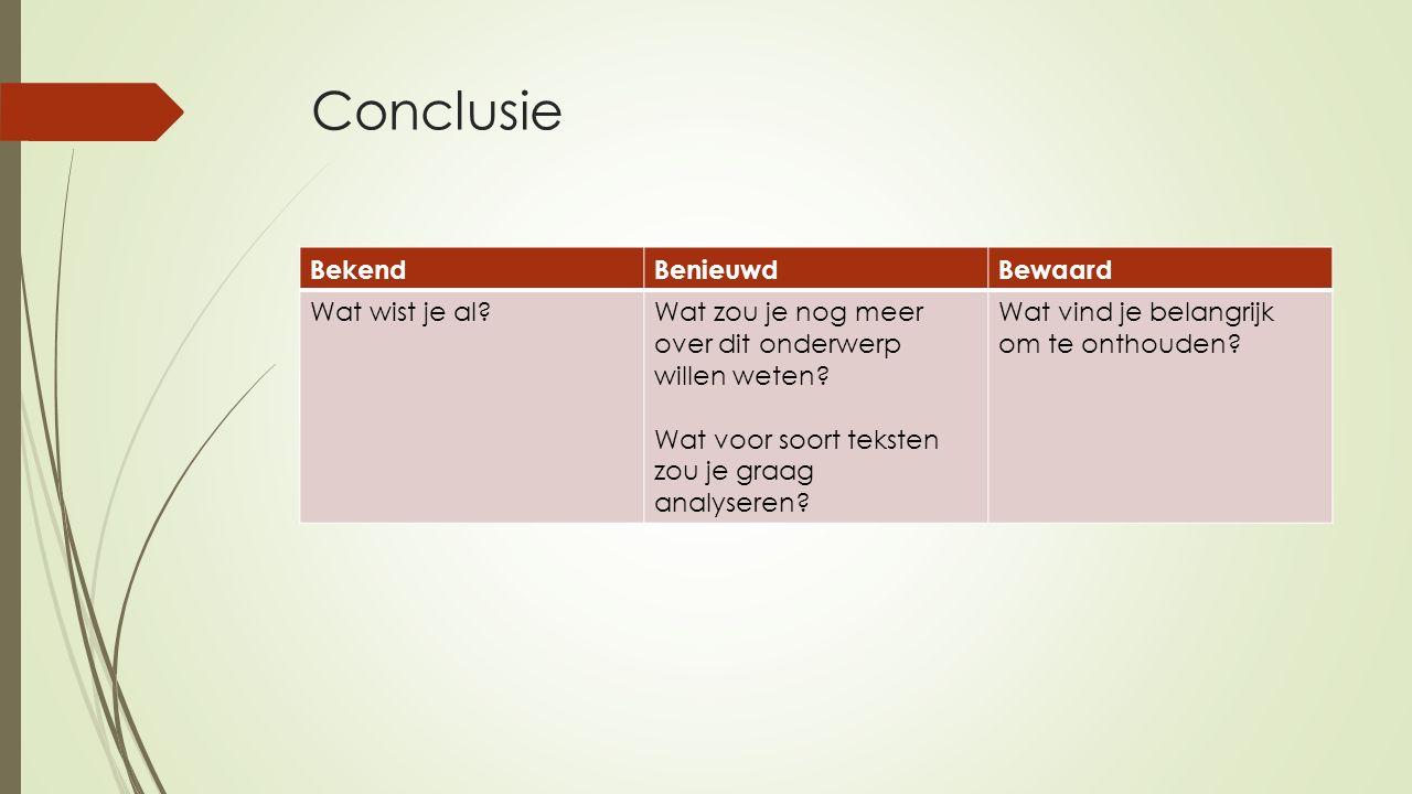 Conclusie BekendBenieuwdBewaard Wat wist je al Wat zou je nog meer over dit onderwerp willen weten.