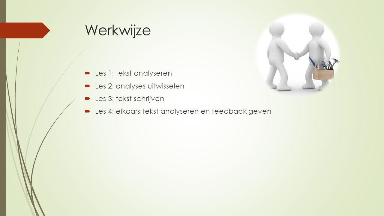 Werkwijze  Les 1: tekst analyseren  Les 2: analyses uitwisselen  Les 3: tekst schrijven  Les 4: elkaars tekst analyseren en feedback geven