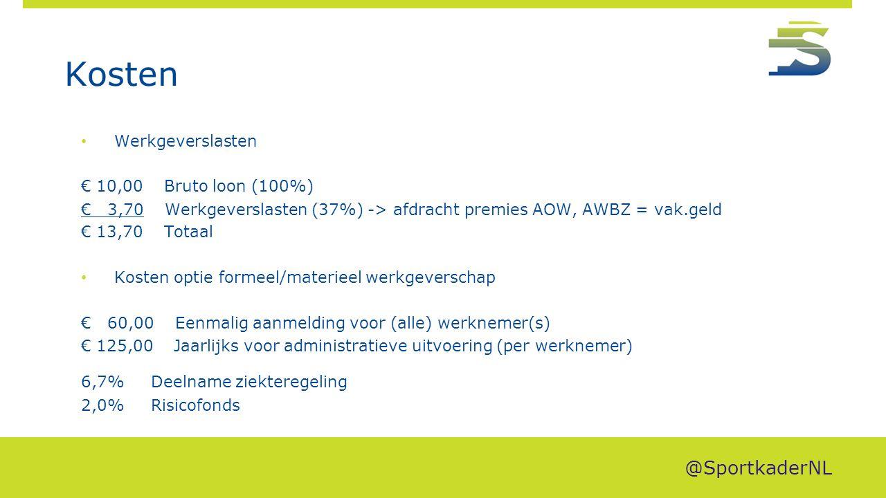 Kosten Werkgeverslasten € 10,00 Bruto loon (100%) € 3,70 Werkgeverslasten (37%) -> afdracht premies AOW, AWBZ = vak.geld € 13,70 Totaal Kosten optie f