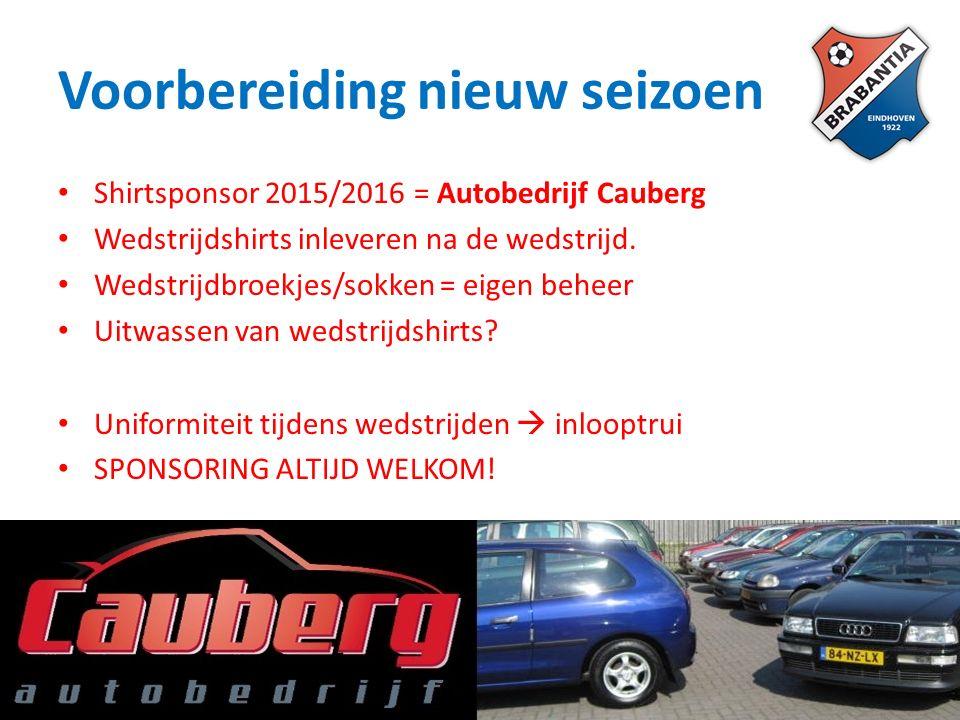 Voorbereiding nieuw seizoen Shirtsponsor 2015/2016 = Autobedrijf Cauberg Wedstrijdshirts inleveren na de wedstrijd.
