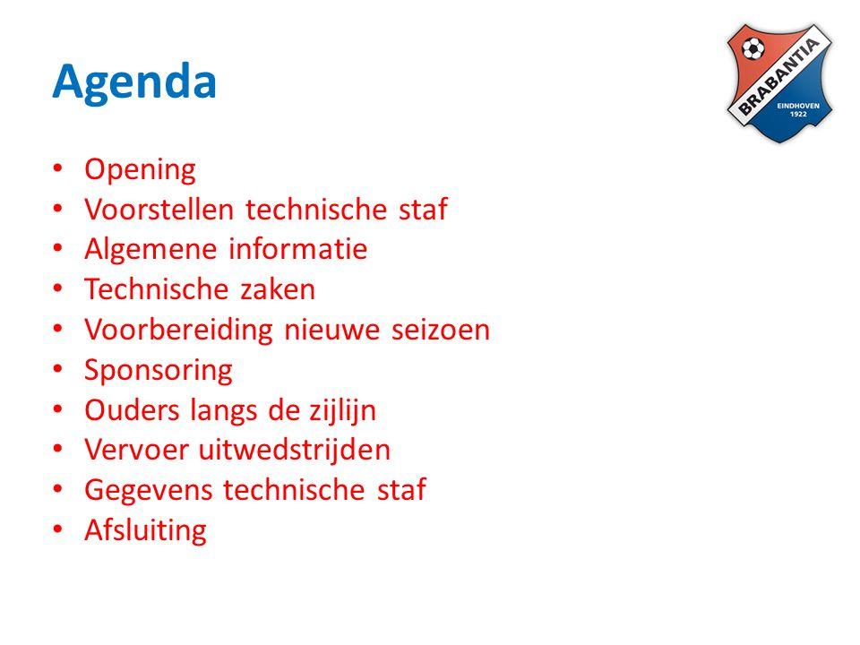 Agenda Opening Voorstellen technische staf Algemene informatie Technische zaken Voorbereiding nieuwe seizoen Sponsoring Ouders langs de zijlijn Vervoer uitwedstrijden Gegevens technische staf Afsluiting