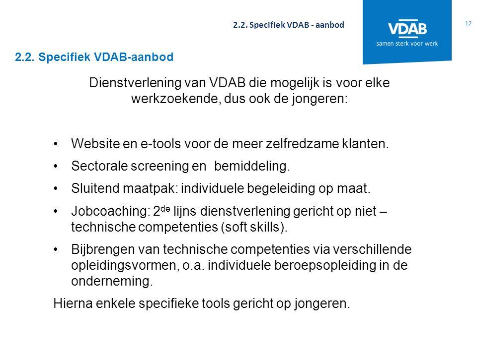 2.2. Specifiek VDAB-aanbod 12 2.2. Specifiek VDAB - aanbod Dienstverlening van VDAB die mogelijk is voor elke werkzoekende, dus ook de jongeren: Websi