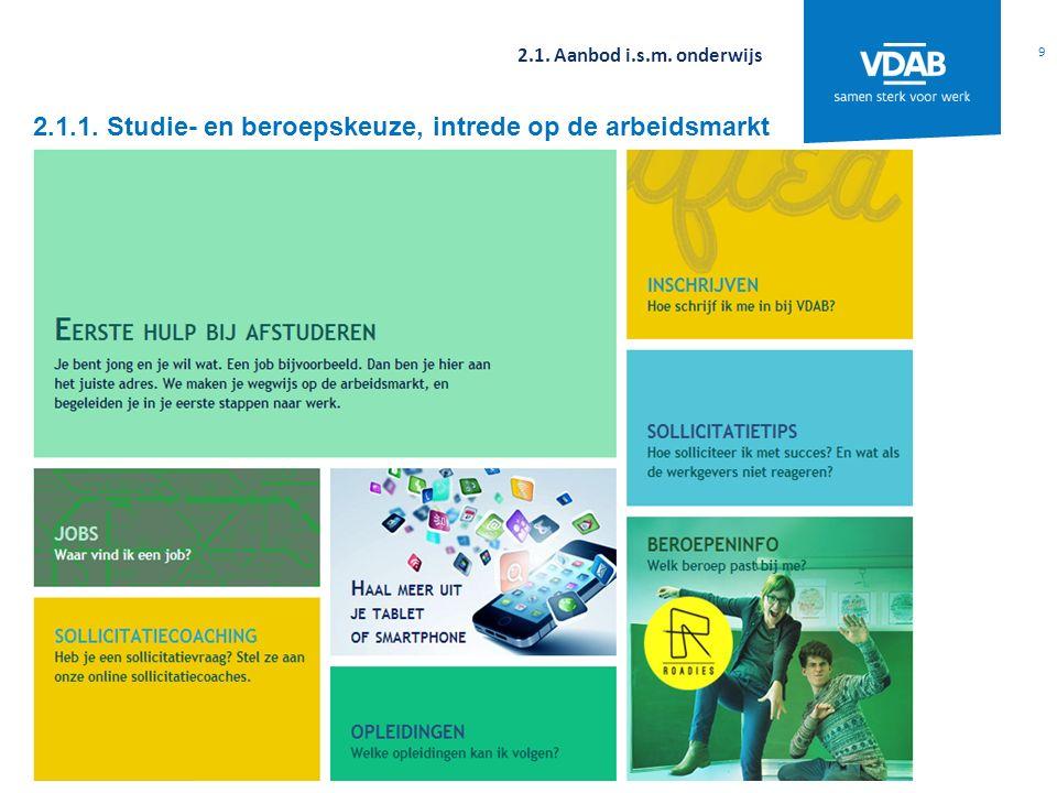 2.1.1. Studie- en beroepskeuze, intrede op de arbeidsmarkt 9 2.1. Aanbod i.s.m. onderwijs