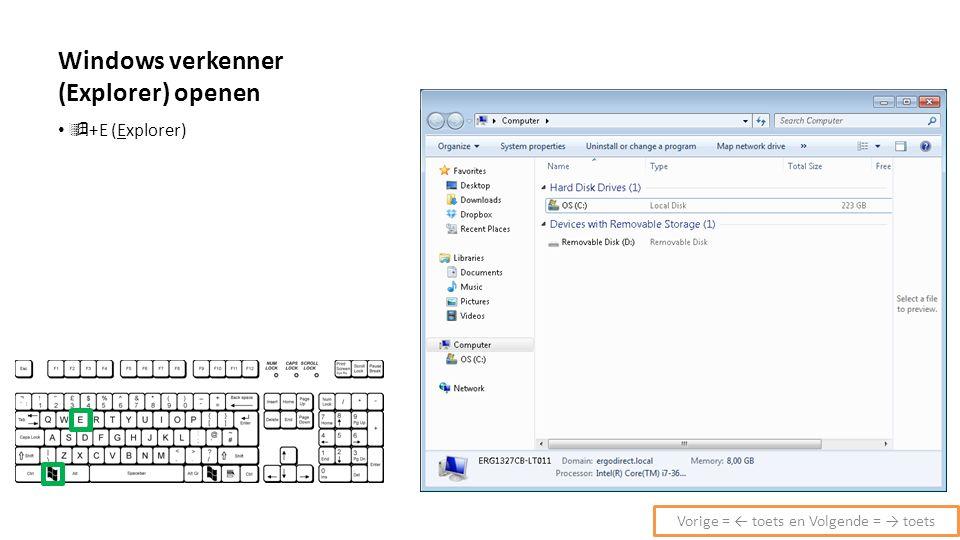 Windows verkenner (Explorer) openen  +E (Explorer) Vorige = ← toets en Volgende = → toets