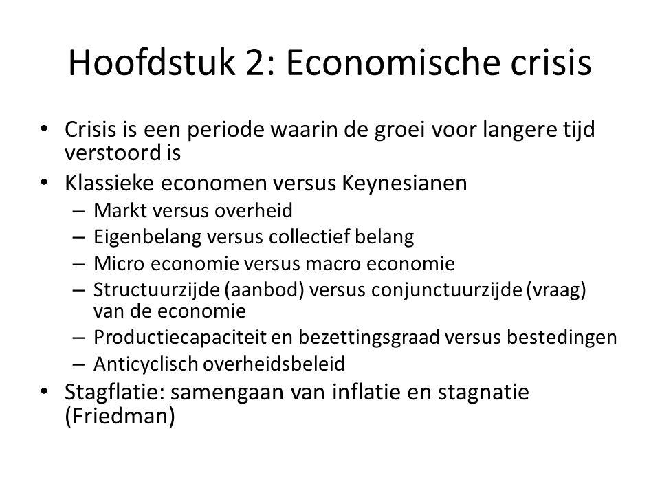 Hoofdstuk 2: Economische crisis Crisis is een periode waarin de groei voor langere tijd verstoord is Klassieke economen versus Keynesianen – Markt ver