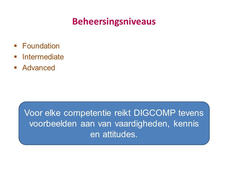 Beheersingsniveaus  Foundation  Intermediate  Advanced Voor elke competentie reikt DIGCOMP tevens voorbeelden aan van vaardigheden, kennis en attitudes.