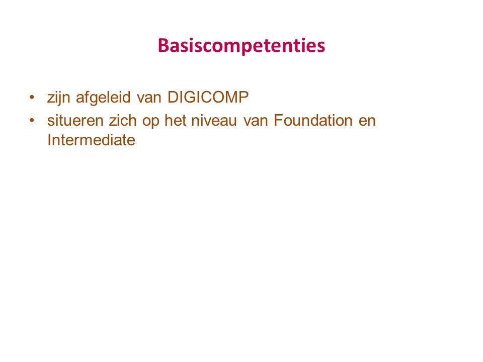 Basiscompetenties zijn afgeleid van DIGICOMP situeren zich op het niveau van Foundation en Intermediate