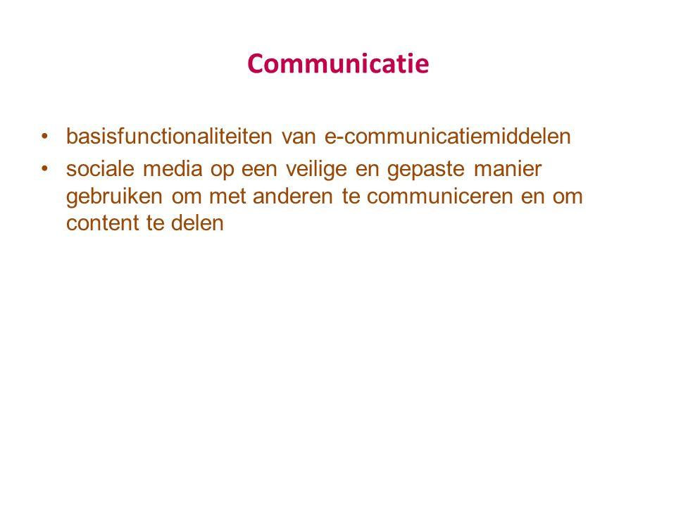 Communicatie basisfunctionaliteiten van e-communicatiemiddelen sociale media op een veilige en gepaste manier gebruiken om met anderen te communiceren en om content te delen