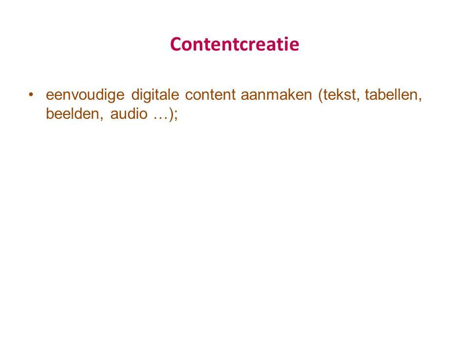 Contentcreatie eenvoudige digitale content aanmaken (tekst, tabellen, beelden, audio …);