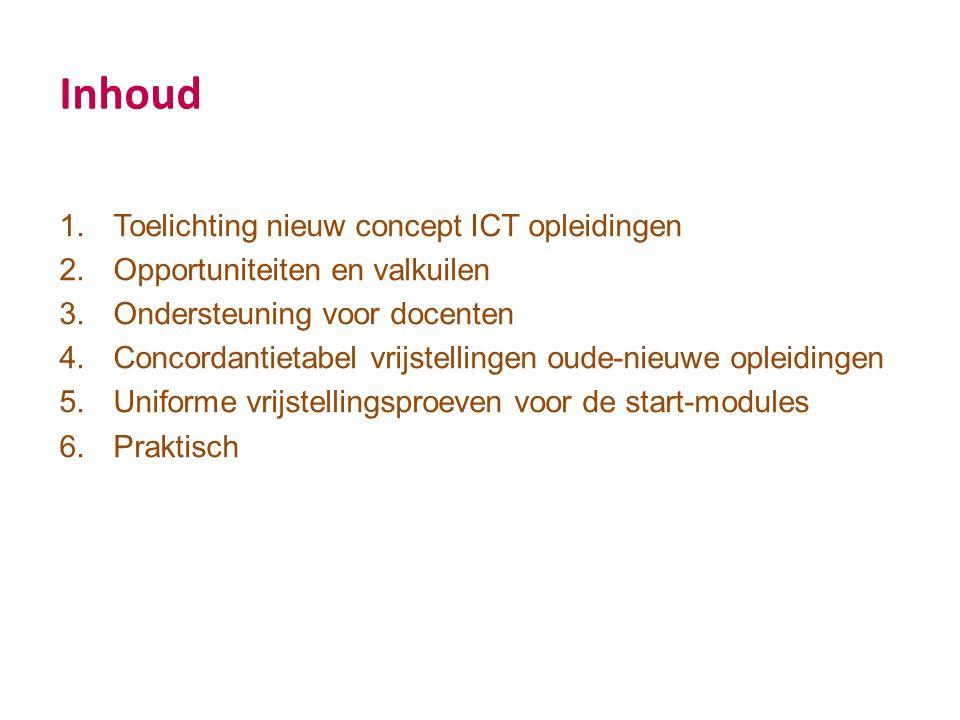Inhoud 1.Toelichting nieuw concept ICT opleidingen 2.Opportuniteiten en valkuilen 3.Ondersteuning voor docenten 4.Concordantietabel vrijstellingen oude-nieuwe opleidingen 5.Uniforme vrijstellingsproeven voor de start-modules 6.Praktisch