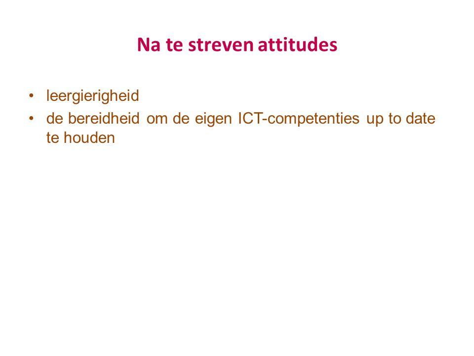 Na te streven attitudes leergierigheid de bereidheid om de eigen ICT-competenties up to date te houden
