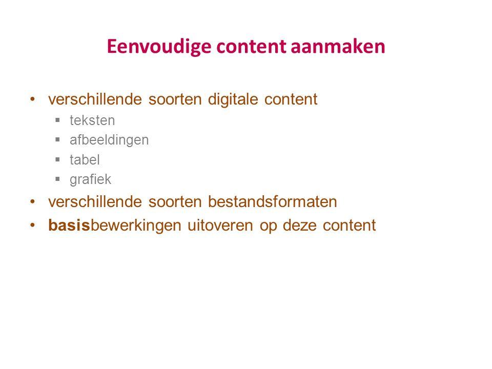 Eenvoudige content aanmaken verschillende soorten digitale content  teksten  afbeeldingen  tabel  grafiek verschillende soorten bestandsformaten basisbewerkingen uitoveren op deze content