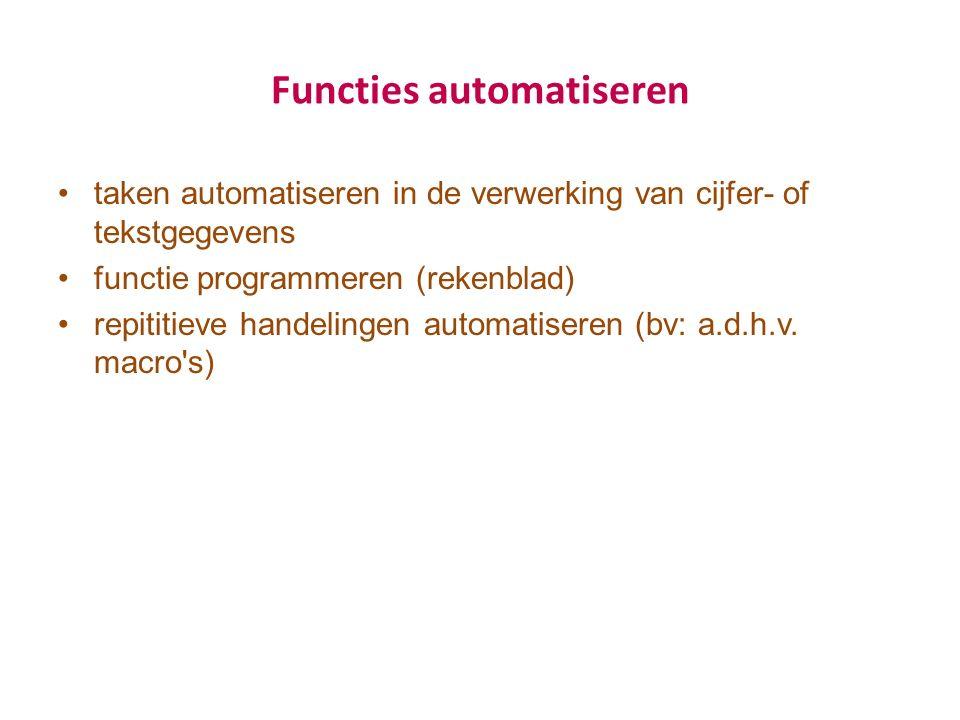 Functies automatiseren taken automatiseren in de verwerking van cijfer- of tekstgegevens functie programmeren (rekenblad) repititieve handelingen automatiseren (bv: a.d.h.v.
