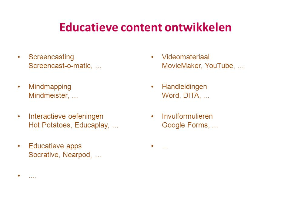 Educatieve content ontwikkelen Screencasting Screencast-o-matic,... Mindmapping Mindmeister,... Interactieve oefeningen Hot Potatoes, Educaplay,... Ed