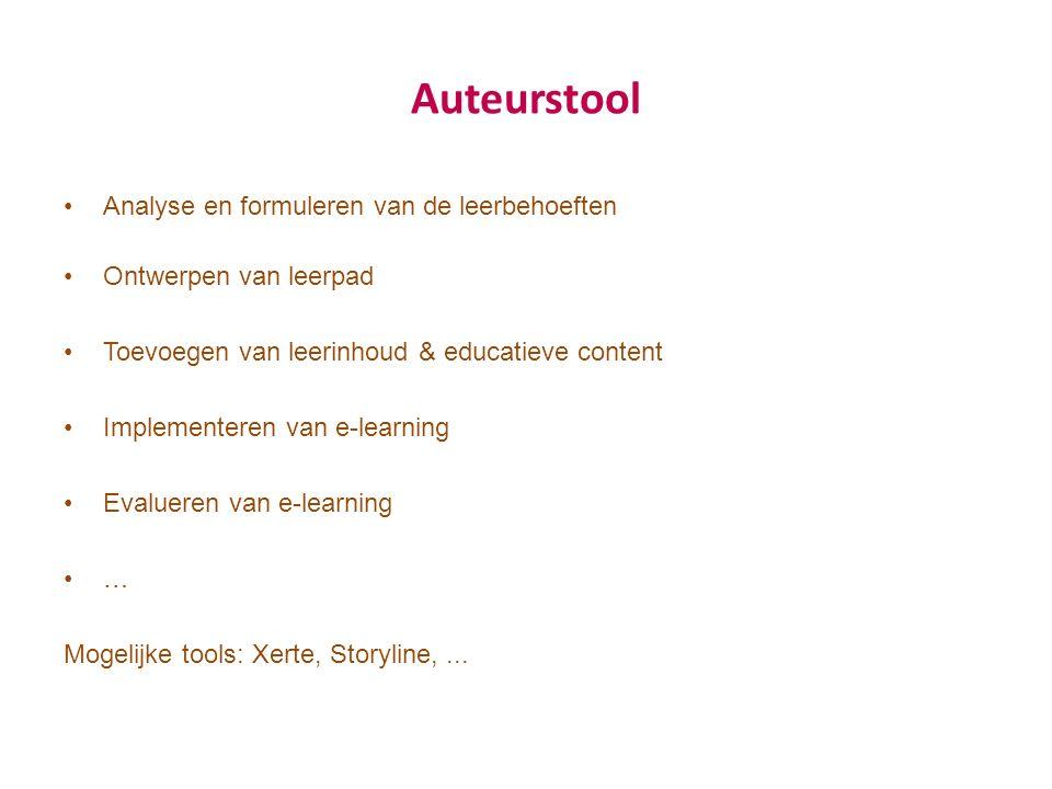 Auteurstool Analyse en formuleren van de leerbehoeften Ontwerpen van leerpad Toevoegen van leerinhoud & educatieve content Implementeren van e-learning Evalueren van e-learning … Mogelijke tools: Xerte, Storyline,...