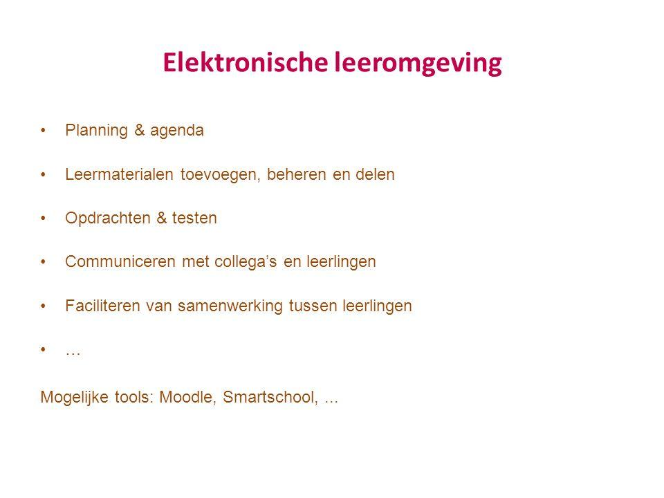 Elektronische leeromgeving Planning & agenda Leermaterialen toevoegen, beheren en delen Opdrachten & testen Communiceren met collega's en leerlingen F