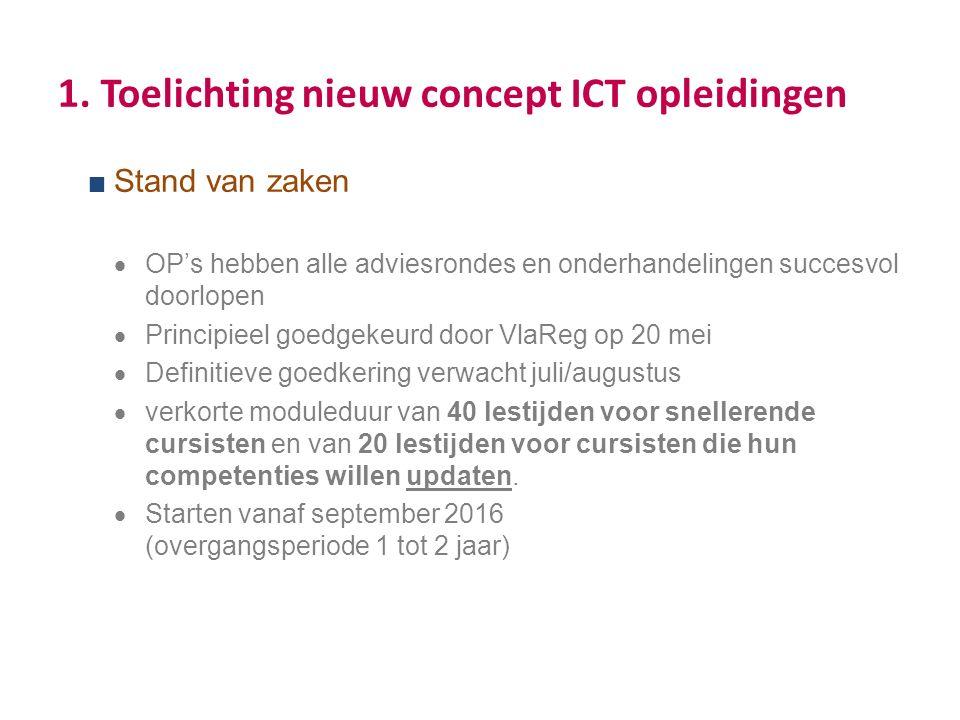 1. Toelichting nieuw concept ICT opleidingen  Stand van zaken  OP's hebben alle adviesrondes en onderhandelingen succesvol doorlopen  Principieel g