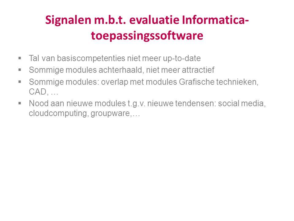 Signalen m.b.t. evaluatie Informatica- toepassingssoftware  Tal van basiscompetenties niet meer up-to-date  Sommige modules achterhaald, niet meer a